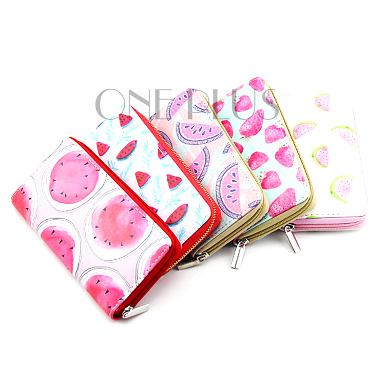Wholesale High Quality Custom Fruit Style Zipper Purse Watermelon Strawberry Print PU Wallet For Promotional Gift