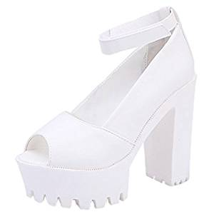 4821e325e36f Get Quotations · Ladies High Heel Sandals - TOOGOO(R)Ladies Women Ankle  Strap Cuff peep toe