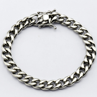 Width 9mm Mens Womens bracelet Jewelry Stainless Steel Silver Tone cuban link chain Bracelet