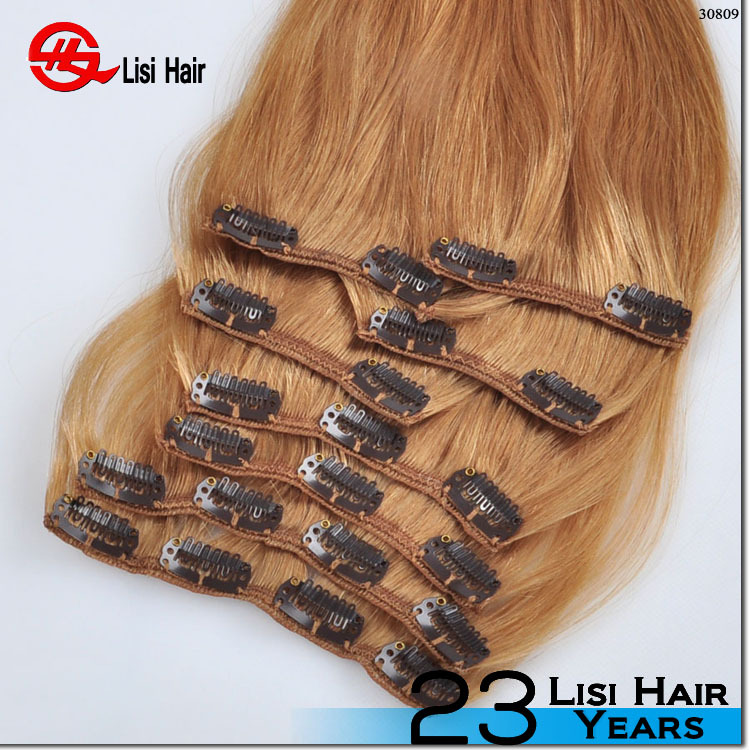 220 Grams Double Drawn Remy Hair Double Triple Weft Clip In Hair
