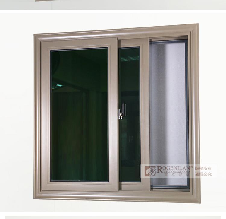 Rogenilan Extruded Commercial Aluminum Window Frame Design For Champagne Color Sliding