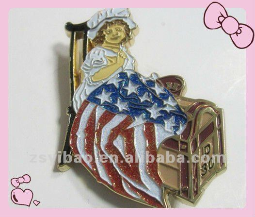 2015 Hotest 3D metal badge with glitter color and rubber clasps