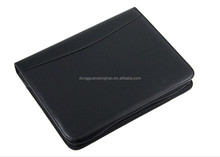4-ring PU leather manager portfolio with calculator, with customized logo