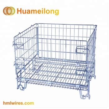 Wire Mesh Container | Industry Stackable Storage Zinc Metal Small Wire Mesh Container Cage