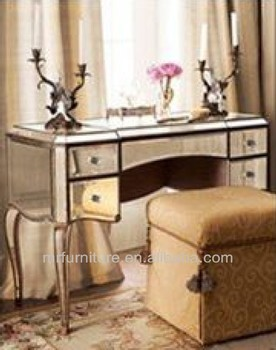 Hot Mirrored Dressing Table Furniture With Antique Gold Wood Rim