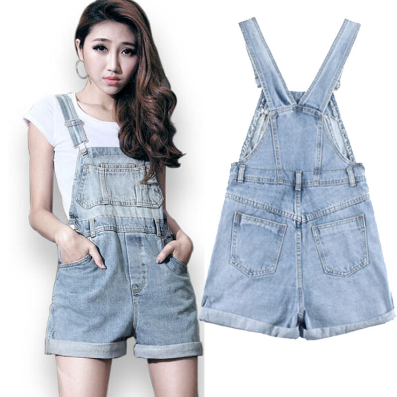7383e5d0d85 Get Quotations · 2015 Summer style short denim overalls plus size brand new  korean casual loose american apparel jeans