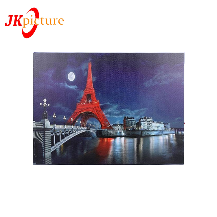 Romantic red Paris landscape living room canvas poster print wall picture LED 3D Oil Painting Paris Eiffel Tower On Wall