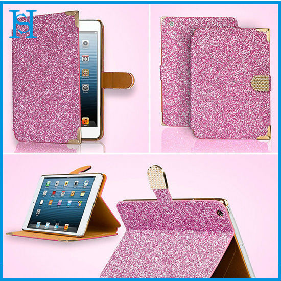 For iPad Mini 2 Stand Leather Case,Luxury Glitter Cover For iPad Mini 2 Tablet