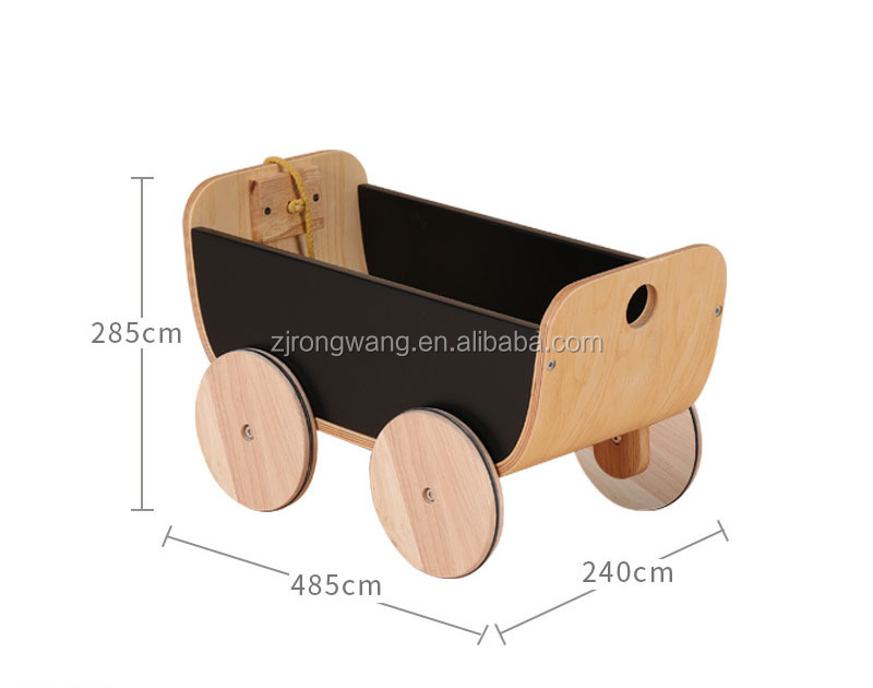 China wholesale hot sale high quality black walker wooden doll strollers pram with rope for baby kids
