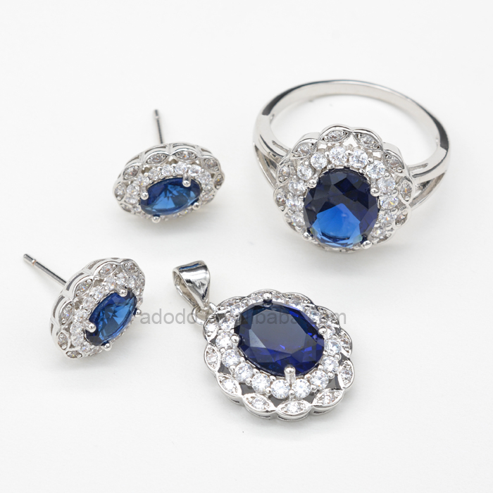 rhodium plated royal blue bridal jewellery sets wedding jewelry set