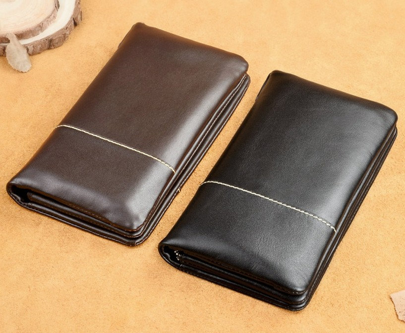 New design mens leather wallets genuine custom leather wallets man leather clutch purses