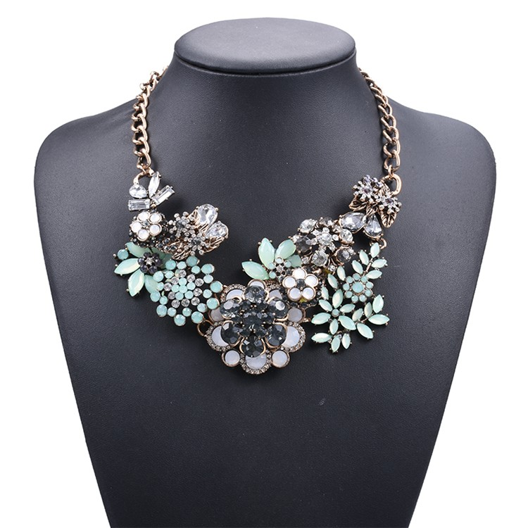jelly green multi layer mixed gems flowers choker statement necklace