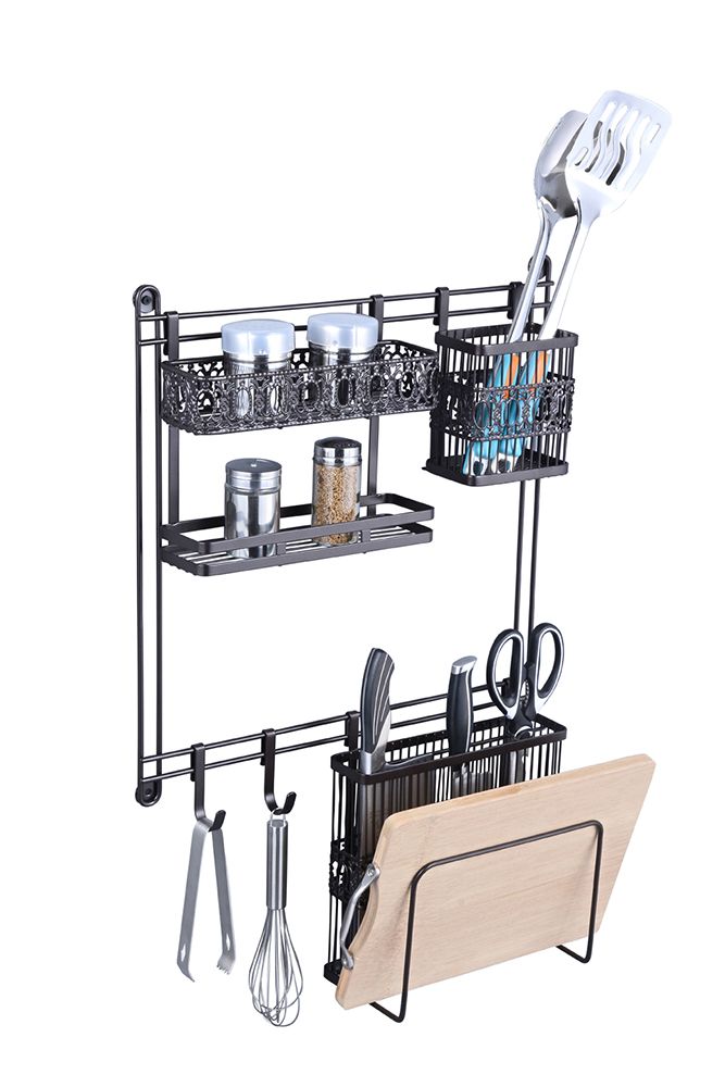 Customized Metal Iron Wall Hanging Kitchen Storage Rack Spice Holder
