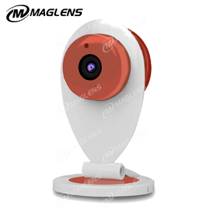 orange color wifi cctv camera with night vision and micro sd card slot storage