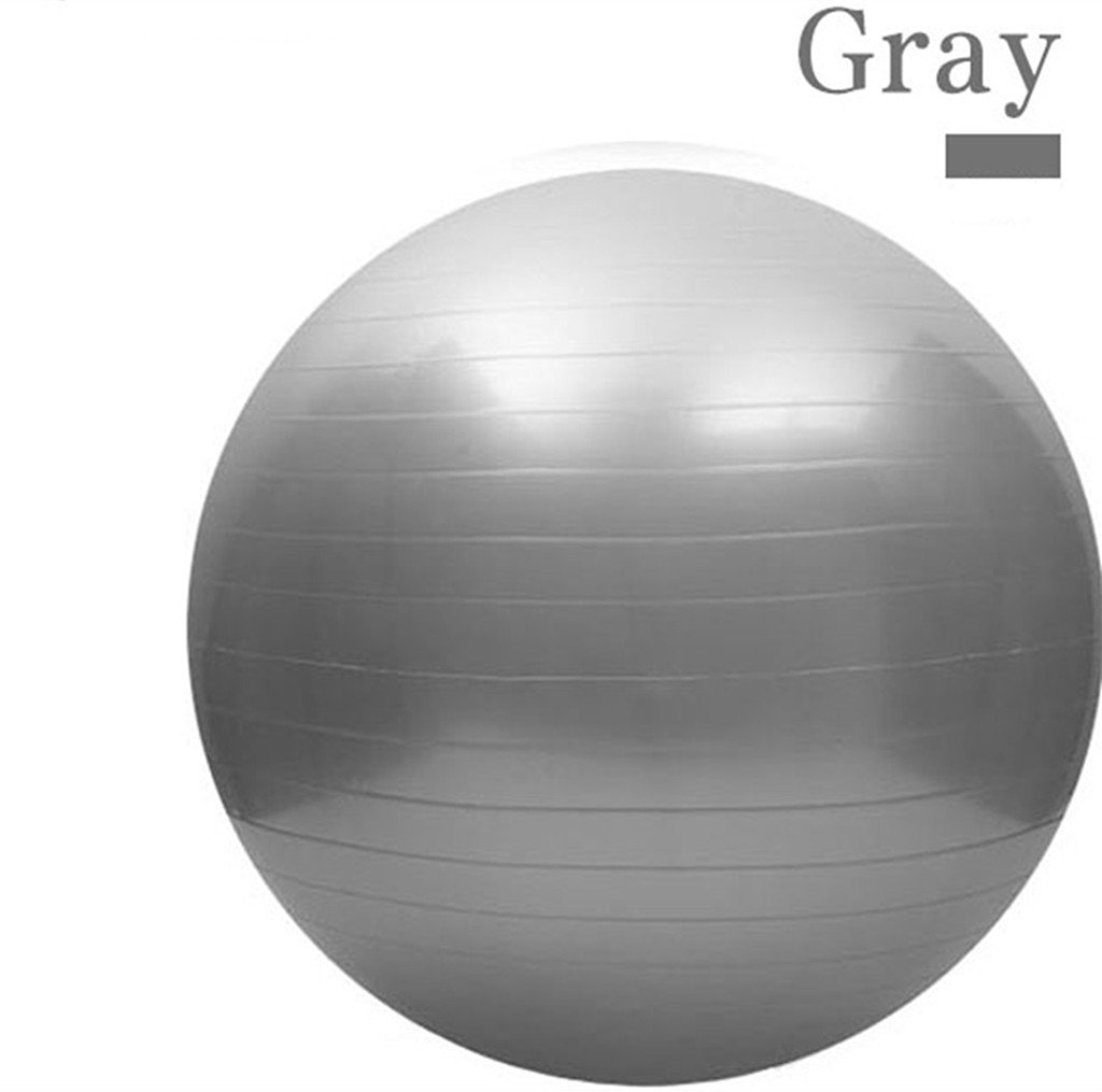 75CM Gym Fitness Ball, L&H Exercise Pilates Balance Swiss Yoga Gym Fitness Ball Aerobic Abdominal Aerobic Abdominal Static Strength Exercise Stability Ball (Grey)