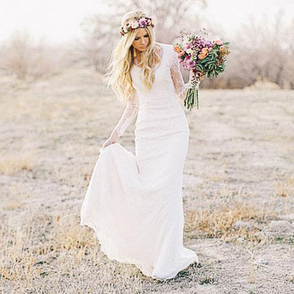Ssyfashion Long Sleeve Wedding Dresses The Bride Elegant: 2017 Sheath Bohemian Style Long Sleeves Wedding Dresses