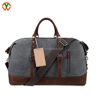 Canvas Genuine Leather Weekender Overnight Bag Travel Duffel Bag