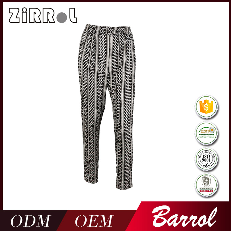 China Factory fashion designs casual printing pants and trousers women