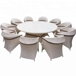 Large Outdoor 10 Seater Rattan Woven Round Furniture Dining Table And Chairs Set