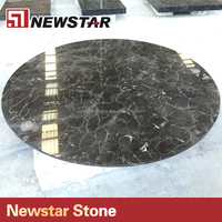 Brown color restaurant marble inlay coffee round shape table top replacement