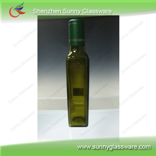 Wholesale Solid Green Colored Glass Olive Oil Bottle