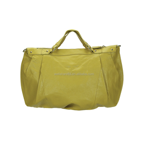 Latest Design Large Capacity Embossed Genuine Leather Yellow Handles String Women Bag Handbag with Logo