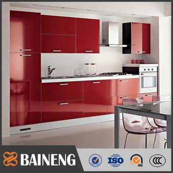 Desain Yang Luar Biasa Tinggi Gloss Merah Lacquer Kabinet Dapur Untuk Rumah Moderen