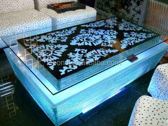 modern ktv led glass mermaid coffee table - buy modern ktv led
