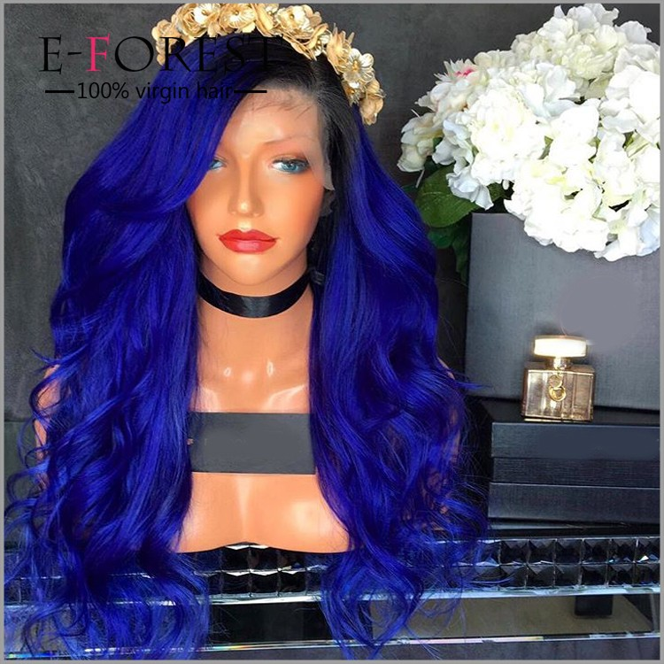 Cheap brazilian silk base closure with baby hair full lace human hair wigs loose wave ombre blue lace front wig in stock