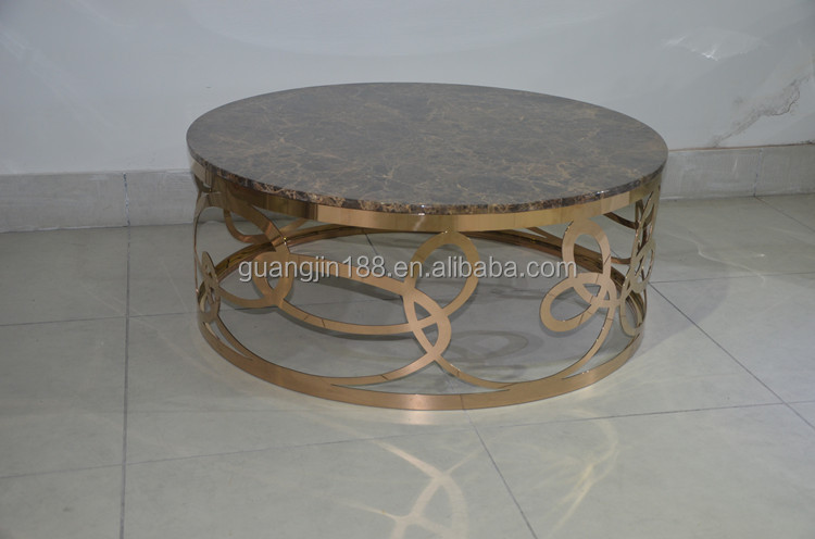Modern Rose Gold Metal Marble Top Oval Glass Coffee Table Buy