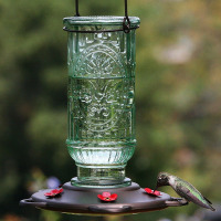 Hot sale glass hummingbird feeder for bird feeder garden decoration