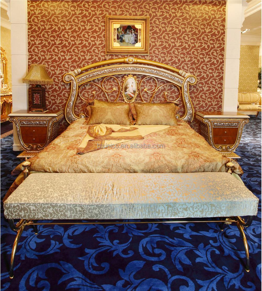 Lujo Franc S Barroco Estilo Real De Oro Tallado Cama Palacio  # Muebles Camas King Size