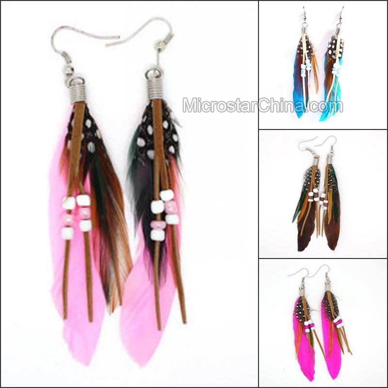 2015 Fashion Colorful Bohemian Feather Seed Bead Earrings