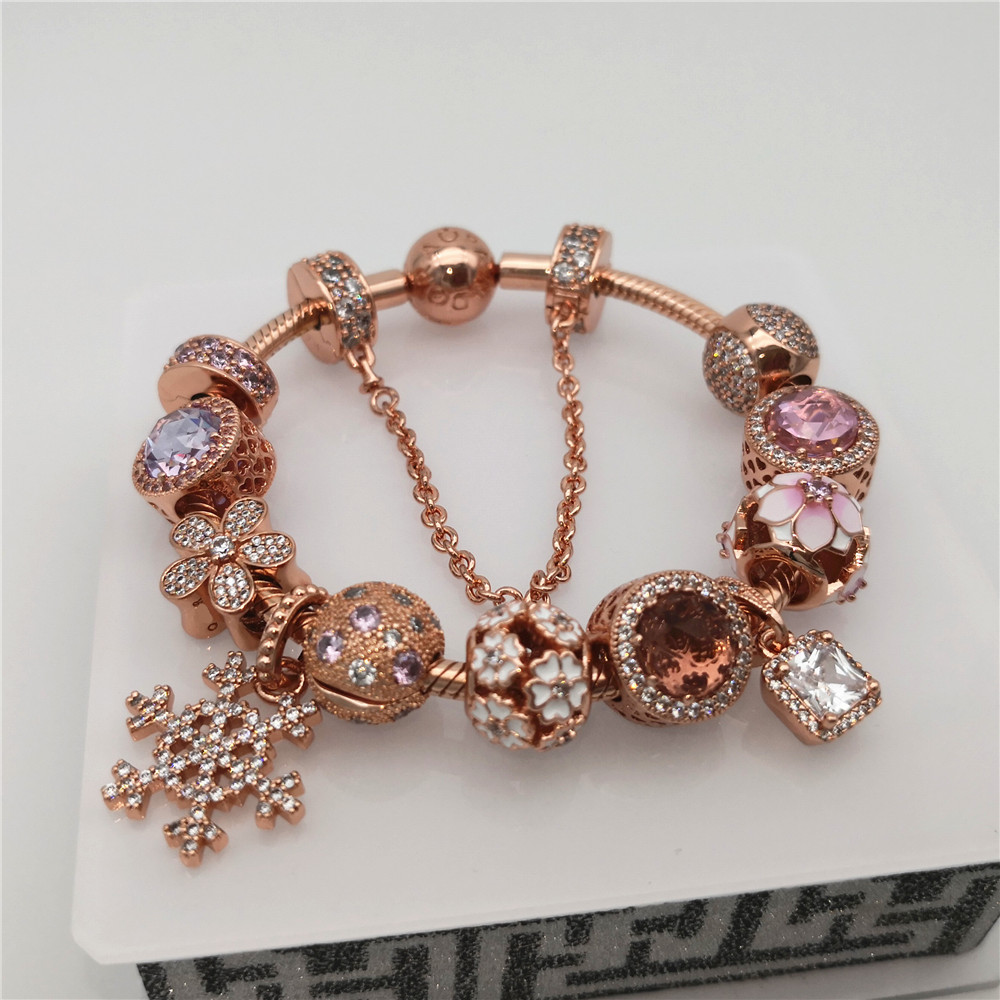 d8782591b 2018 Rose Gold Charms With High Quality 1:1 Original Fit Pandora Charms  Bracelets
