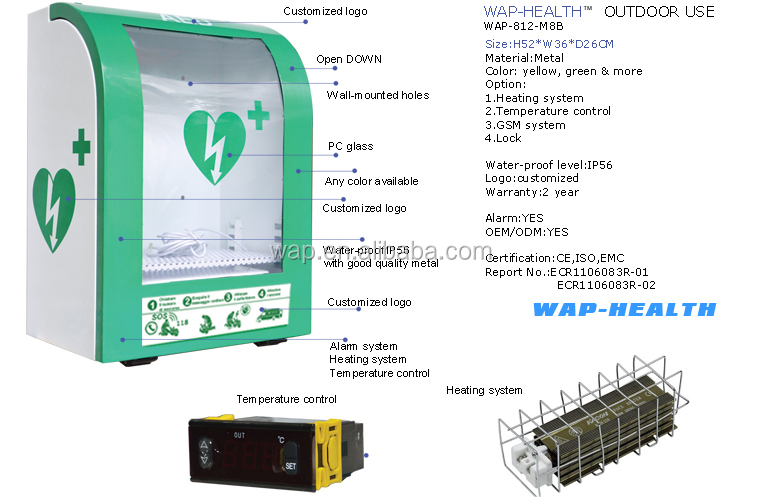 Wap Health Outdoor Storage Defibrillator Cabinet Waterproof Aed