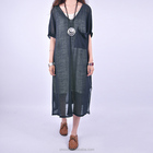 15STC2218 deep v neck short sleeves knit linen dress