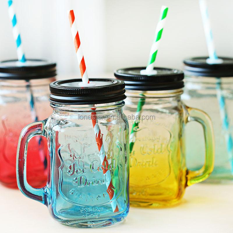 producto caliente botellas de vidrio jugo tarro de albail con mango y tapa y paja al - Tarros De Vidrio