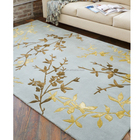 5' x 8' Forest Green ,gold flower hand made wool and bamboo silk, art Silk, viscose silk area throw rug