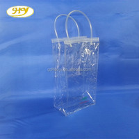 a wide selection of colours and designs reliable performance reusable zipper PVC stand up pouch wine bag with tote