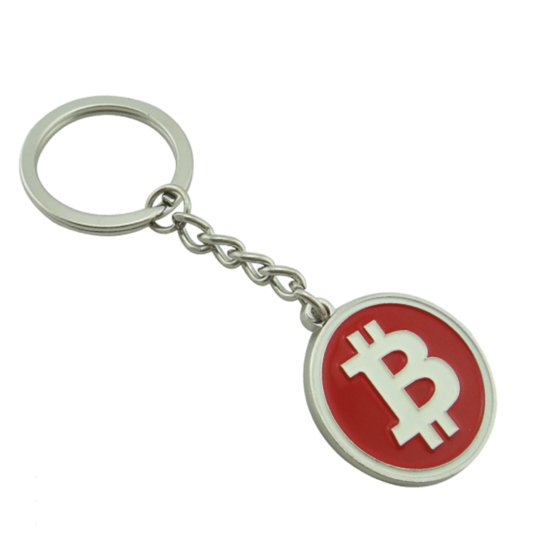 Factory cheap custom sliver enamel bitcoin metal keychain manufacturers in china