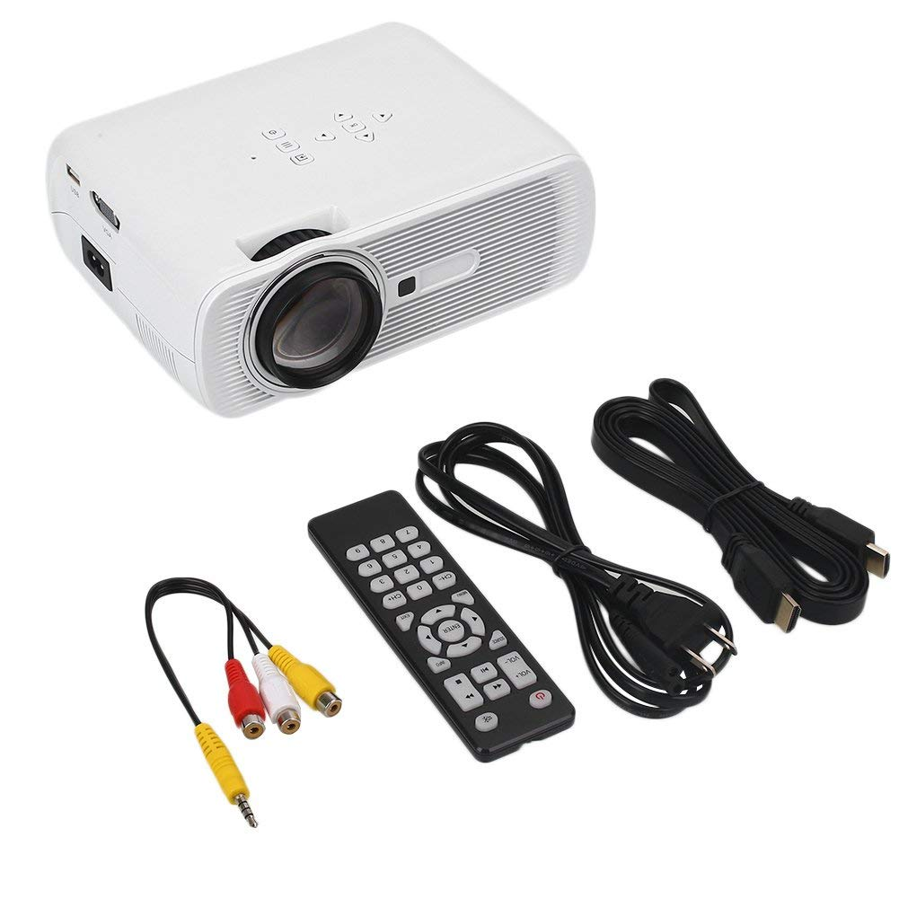 Auntwhale Portable G80 1080P HD 7000Lumens 1000: 1 LED LCD Multimedia Video Projector 3D Home Theater Projector AV VGA USB HDMI TV - Projection Size: 37-130 Inches - Product Size: 21 × 16.5 × 8cm - Wh
