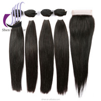 wholesale lace closure and 3 bundles silky straight virgin Brazilian hair