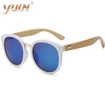 Hot sale big round sunglasses white frame mirror sunglass custom logo bamboo arms women sun glasses