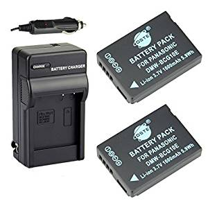 DSTE 2x DMW-BCG10 DMW-BCG10E Battery + DC57 Travel and Car Charger Adapter for Panasonic Lumix DMC-ZS10 ZS15 ZS19 ZS20 ZS25 ZX3 TZ8 TZ10 TZ18 TZ19 TZ20 TZ25 ZR1 ZR3 Camera