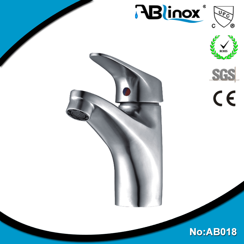 304 stainless steel brushed nickle basin sink hot cold water taps with CE and CUPC certificate