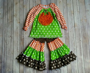 Halloween boutique outfit with pumpkin patch baby polka dot outfit ruffle pants set