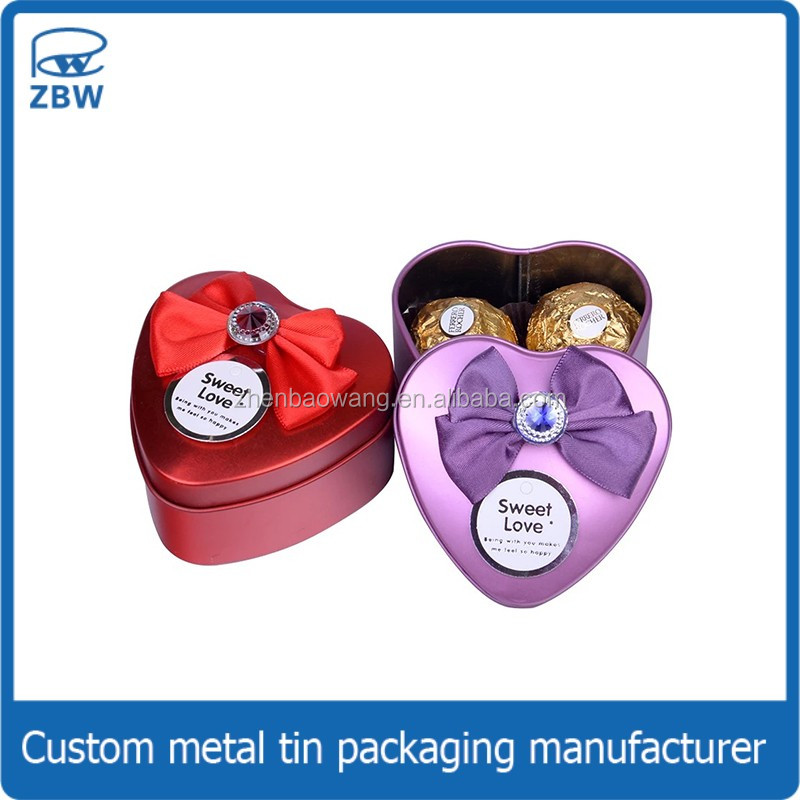 New shape cordiform wedding favor chocolate candy tin box