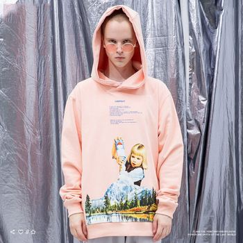 100% cotton streetwear extended spliced fashion custom your design longline man pink no pockets hoodies