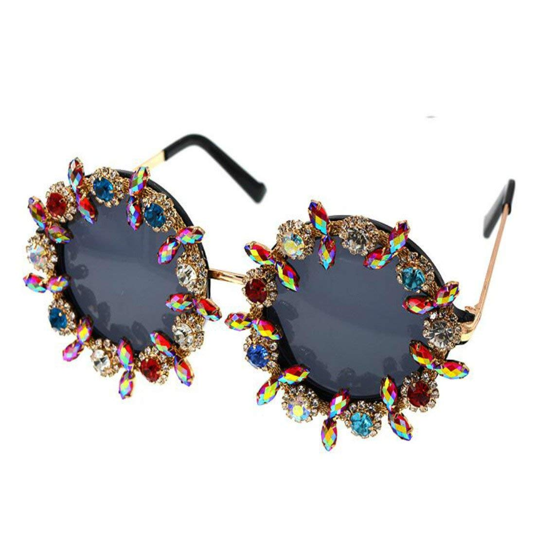 bcc3e021145 Colygamala Women s Baroque Retro Sunglasses Colorful Crystal Decoration  Conjoined Sunglasses With Case