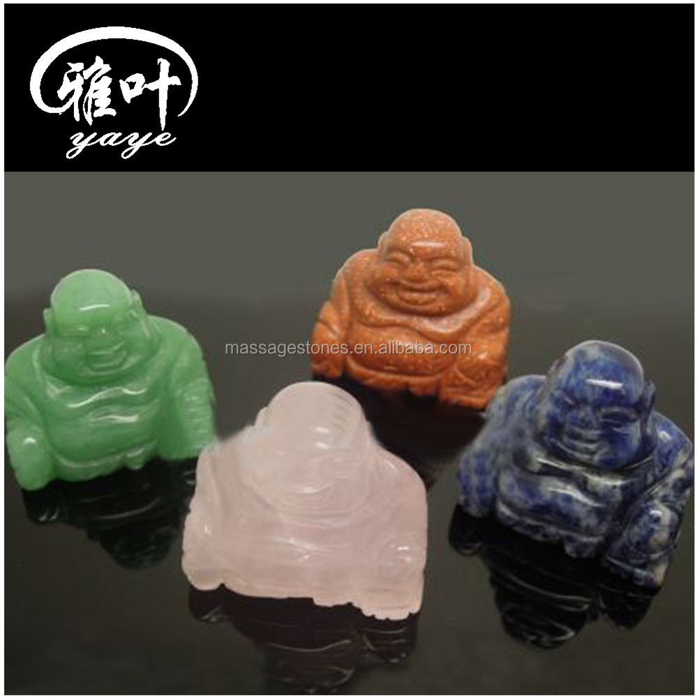 Wholesale Natural Stone Carving Buddha Statues Gemstones Crystal Laughing Buddha